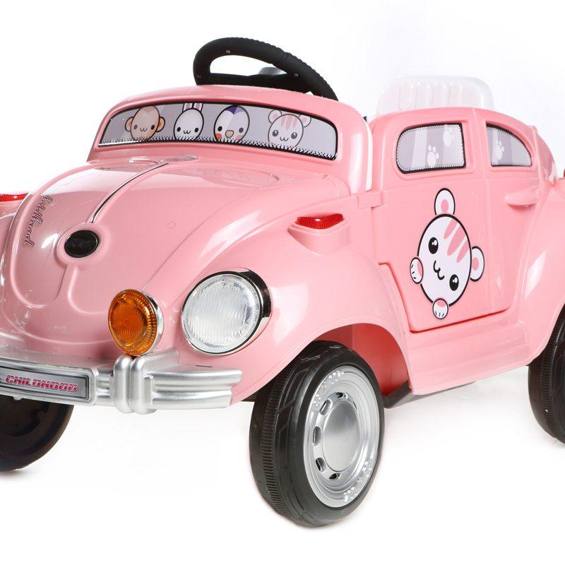 Pink Mini Beetle - 6V Kids' Electric Ride On Car